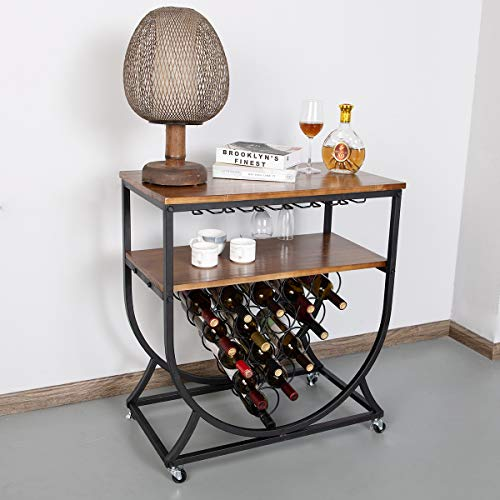 BENOSS 15-Bottle Industrial Wine Bar Rack for Home, Metal & Solid Wood Wine Display Rack with Glass Holder, Kitchen Wine Storage Cabinet, Vintage Brown