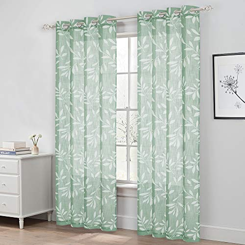 NICETOWN Leaf Print Semitransparent Sheer Curtains for Farmhouse 84 inch Long, Elegant Grommet White and Green Faux Linen Texture Window Dressings for Living Room/French Door, 50