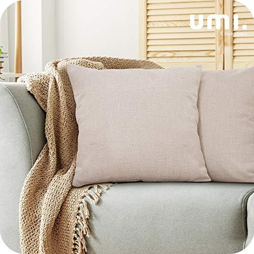 UMI. by Amazon - Fundas de Cojin para Sofa Modernos Cubierta Color Liso 2 Piezas 45x45cm Amarillo