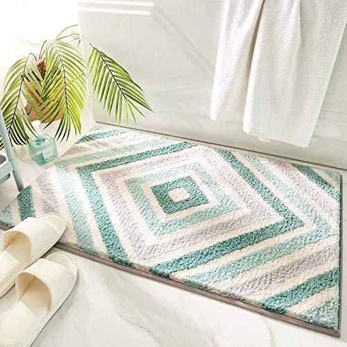 Colel Tapis de bain antidérapant, tapis de bain, tapis de salle de bain, super absorbant, doux, lavable en machine pour salle de bain, toilettes, cuisine (menthe, 50 x 80 cm)