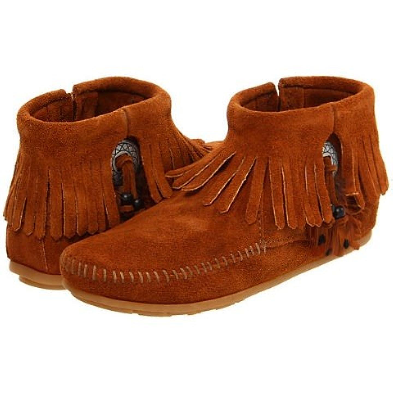 有力者留め金に頼る[ミネトンカ] Minnetonka レディース CONCHO FEATHER SIDE ZIP BOOT スエードブーツ ブラウン(BROWN) US5.5(22.5cm)