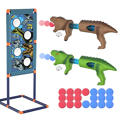 Amicool Dinosaur Toy Shooting Game Gun Toy for Age 5 6 7 8 9 10+ Years Old Boys Kid Girl  2pk Foam Ball Popper Blaster with Shooting Target 20 Balls Sound Effect Indoor Outdoor Game Gift Birthday Xmas