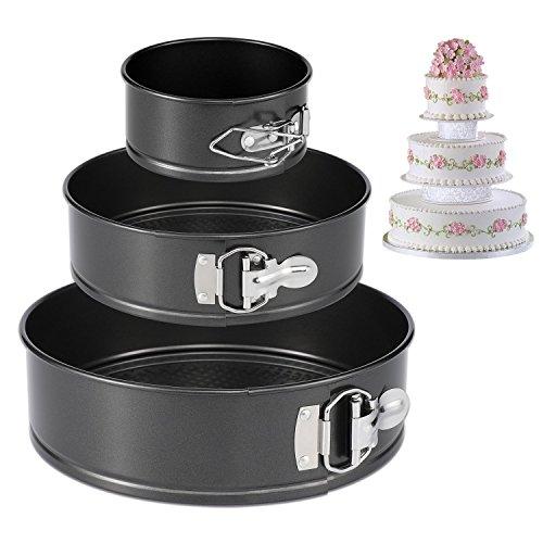 CESHMD Springform Pan Set von 3 Antihaft-Cheesecake Pan, auslaufsicher Round Cake Pan Set enthält 3 Stück 4