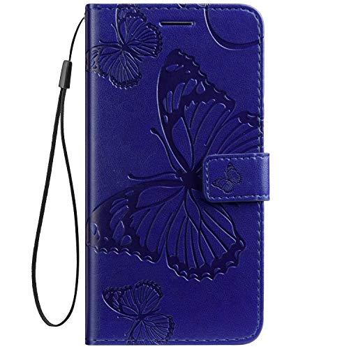 Herbests Kompatibel mit Leder Handy Schutzhülle Motorola Moto Z2 Force Lederhülle Schmetterling Muster Leder Handyhülle Handytasche Brieftasche Ledertasche Bookstyle Flip Hülle Cover Klapphülle,Blau
