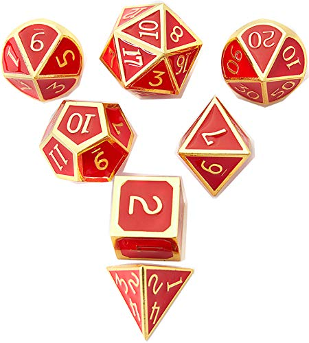 DND Polyhedral Metal Game Dice Gold and Ruby Red 7pc Set Dungeons Dragons DND RPG MTG Table Games D&D Pathfinder Shadowrun Math Teaching