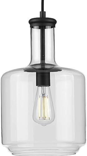 high quality Latrobe Collection 1-Light Clear Glass Coastal new arrival Pendant high quality Light Matte Black online