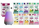 Set di oli essenziali premium + diffusore di aromi colori LED, 10 x 15 ml, 100% naturale puro, aromaterapia, olio aromatico, per umidificatore, oli concentrati idrosolubili