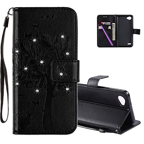 COTDINFOR LG Q6 Hülle für Mädchen Elegant Retro Premium PU Lederhülle Handy Tasche mit Magnet Standfunktion Schutz Etui für LG Q6 / G6 Mini Black Wishing Tree with Diamond KT.