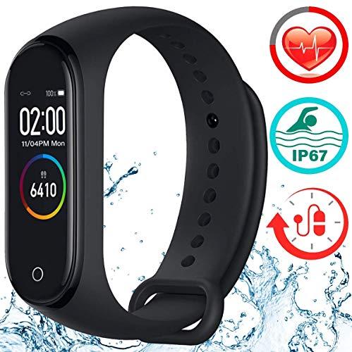 Smartwatch con pulsómetro, pulsera de fitness, reloj deportivo con podómetro, contador de calorías, control remoto de cámara, compatible con Android, iOS y Bluetooth 4.0.