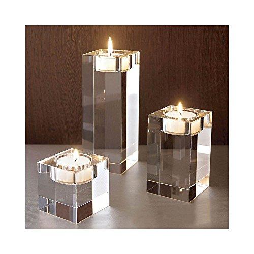 Portavelas de cristal K9 con forma cuadrada transparente para mesa, candelabro, centro de mesa, portavelas para decoración del hogar, fiestas (altura de 6 + 10 + 14 cm)