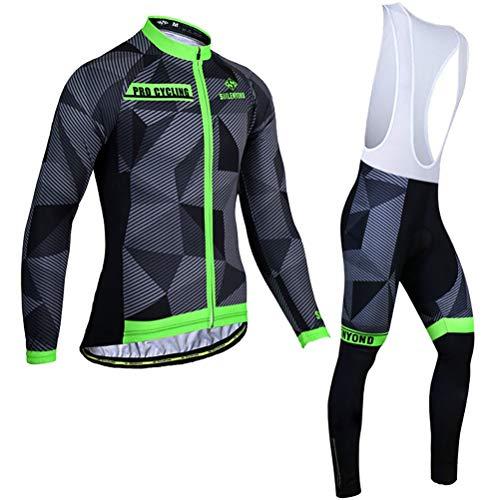 MTTKTTBD fietsshirt voor heren, set fietskleding, geschikt voor lange mouwen, ademend, 3D-gel, gepolsterd, lange broek, fietsbroek, fietsbroek kleding, sneldrogend, fietskleding voor de lente herfst