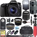 Canon EOS 80D CMOS DSLR Camera + EF-S 18-55mm IS STM & 75-300mm III Lens Kit + Accessory Bundle 64GB SDXC Memory + SLR Photo Bag + Wide Angle Lens + 2x Telephoto Lens + Flash + Remote + Tripod, Bundle