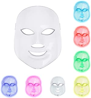 Light Therapy Mask, 7 Colors Led Photon Face Mask Machine Led Mask Beauty Proactive Skin Care For Anti-Aging Firming Skin Improving Fine with US Plug