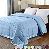 downluxe Lightweight King Down Alternative Blanket with Satin Trim, Cool Blue, 90 X 108 Inch