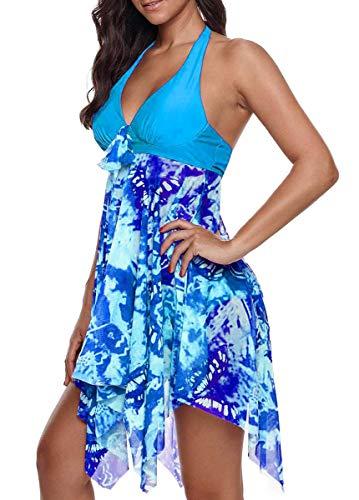 CIZEUR Mujer Traje de Baño Tankini Hálter Falda Push Up Bañador Conjunto Cintura Alta Talla Grande S-5XL M Azul Claro