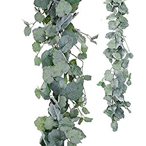 ZHXDXF Artificial Flowers 2 Pack Artificial Hanging Leaves Vines 5.6 Feet Fake Begonia Leaves Plant Leaves Garland for Indoor Outdoor Wedding Decor Greenery Wreath(Gray Begonia Leav