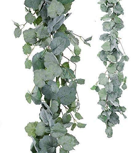 JIAJBG Artificial Flowers 2 Pack Artificial Hanging Leaves Vines 5.6 Feet Fake Begonia Leaves Plant Leaves Garland for Indoor Outdoor Wedding Decor Greenery Wreath(Gray Begonia Leav