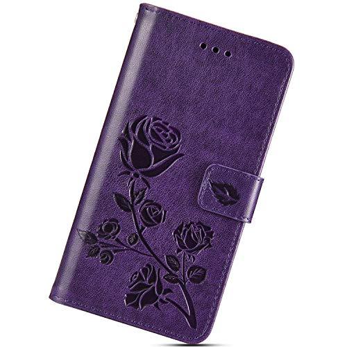 Urhause Funda Relieve Compatible con iPhone 7 Plus/8 Plus,Flor Rosa Carcasa Libro con Tapa Flip Case Protectora Cuero PU Billetera Cover Cartera Soporte Cierre Magnético Cubierta Case,Púrpura