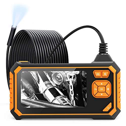 Telecamera di ispezione, telecamera per endoscopio Schermo LCD a colori da Endoscopio industriale endoscopio semirigido HD con telecamera a impermeabile a 6 LED con batteria da 2600mAh (10 metri)