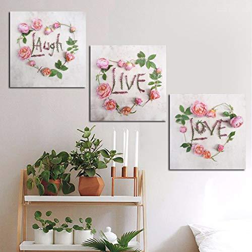 ZXCVWY 3 platen slinger bloem modern minimalistisch schilderij poster print wandafbeelding voor woonkamer decoratie
