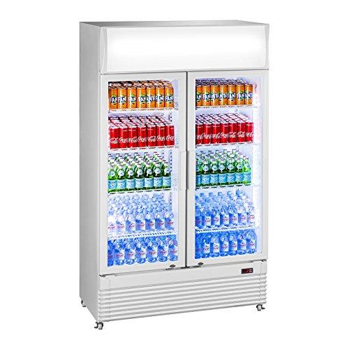 Royal Catering RCGK-600C Nevera Expositora de Bebidas Frigorifico Botellas Nevera para Bebidas Refrigerador (600 L, 2–10 °C, 400 W, 112,5x56,5x196 cm) Blanco
