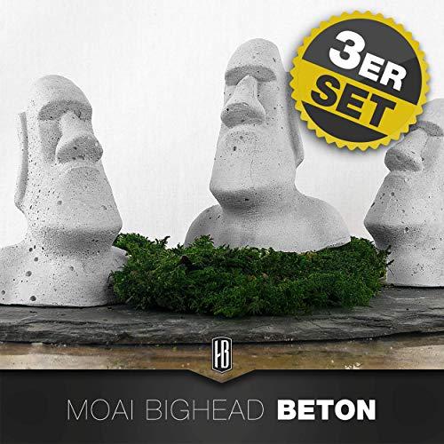 3ER SET Moai Figur Osterinsel aus Beton