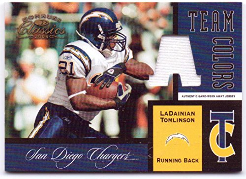 LaDainian Tomlinson 2004 Donruss Classics Team Colors Authentic Game Worn Jersey Away #TC-16 - 003/150 - San Diego Chargers