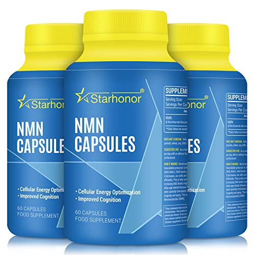 NMN Supplements 500mg Capsule, Pure Nicotinamide Mononucleotide - NAD+ Energy Booster & Anti-Aging & Antioxidant, Energy Metabolism, Vegan Friendly (3 Pack)