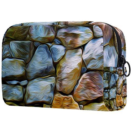 Personalisierte Make-up-Bürstentasche, tragbare Kulturbeutel für Frauen, Handtasche, Kosmetiktasche, Reise-Organizer, Steinwand