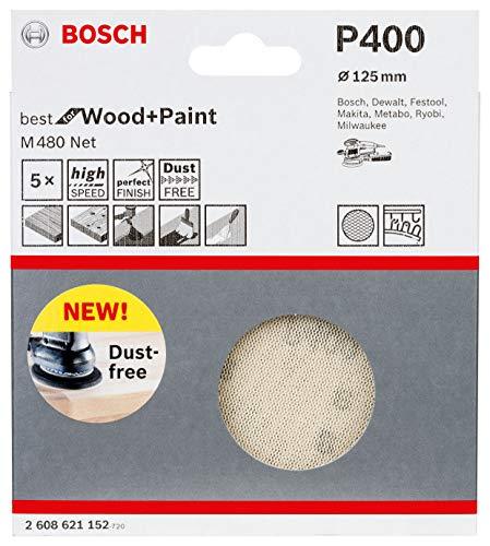 Bosch Professional 50 Stück Schleifblatt M480 Best for Wood and Paint (Holz und Farbe, Ø 125 mm, Körnung P240, Zubehör Exzenterschleifer)