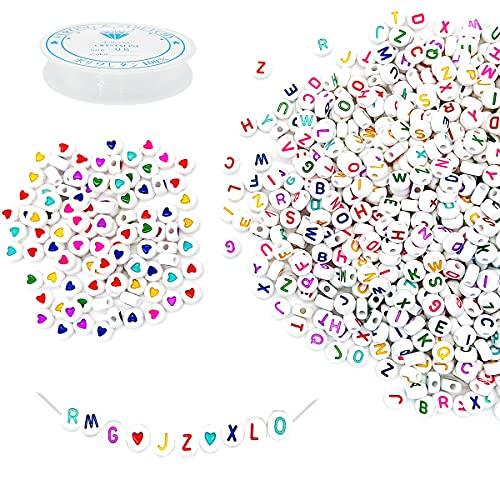 1000 Piezas Cuentas de Letras Colores,Letras para Pulseras Redondas,Abalorios Pulseras Corazon,Cuentas del Alfabeto con Cuerda de Cristal,para Pulseras DIY Manualidades (Color)