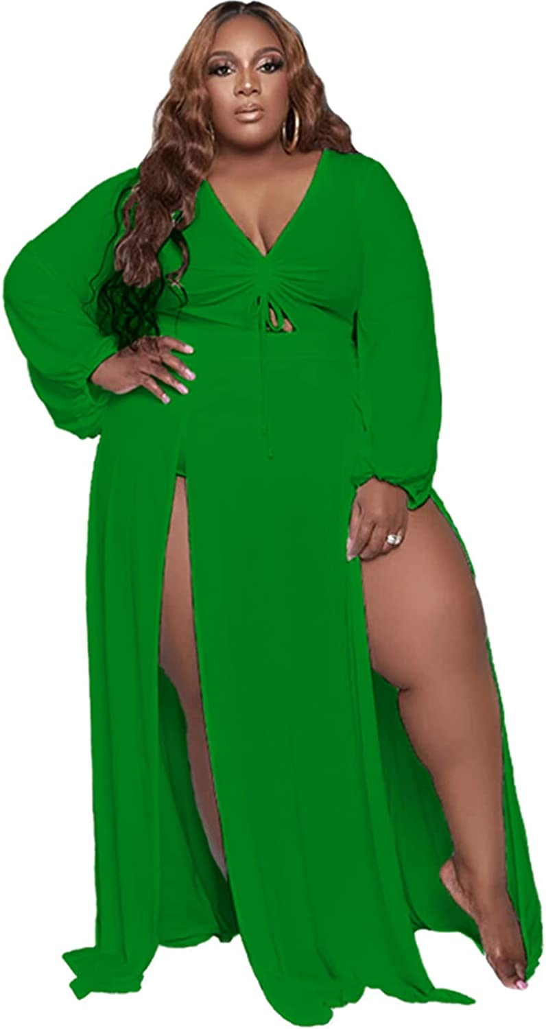 OLUOLIN Women Sexy Plus Size Ruched Tie Cut Out V Neck High Split Long Maxi Party Dress Beachwear Cover Up