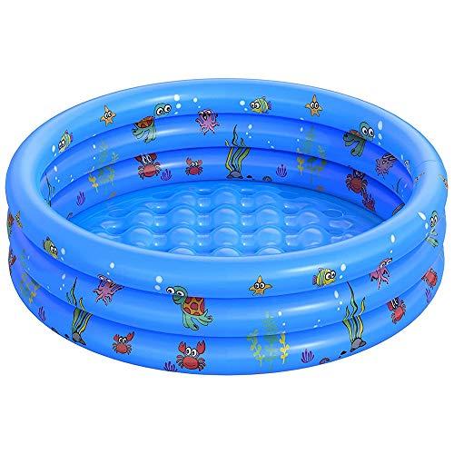 FANIER Piscina hinchable para niño, redonda, Ocean Life espessi piscina hinchable familiar, bañera hinchable para jardín y hacer 3 candelabros de 100 cm de diámetro, 38 cm de altura.