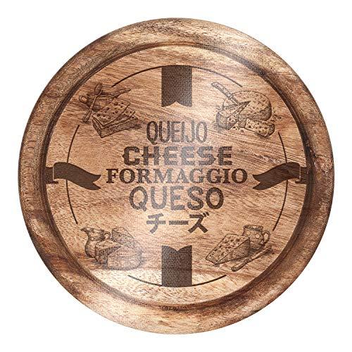 Tabua Para Queijo com Ilustrações de Madeira, Material de Vidro