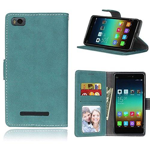 pinlu Cover per Xiaomi Mi 4i / 4C Alta qualità Scrub Retro PU Pelle Flip Cover con Funzione di Appoggio Cinturino da Polso Magnetico Snap-on Book Style Blu