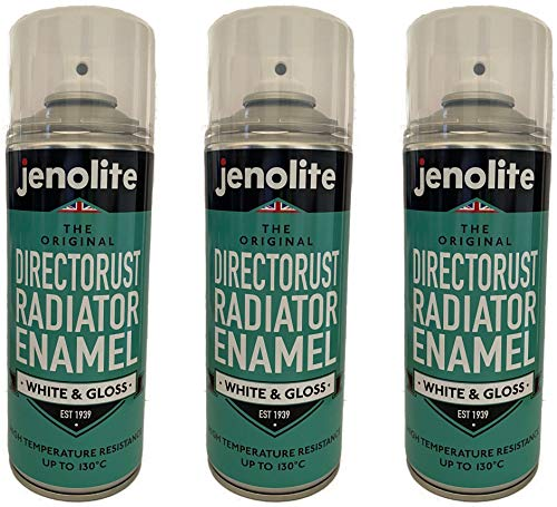 3 x JENOLITE Pintura de aerosol esmalte radiador - Brillo blanco - 400ml