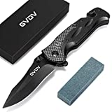 GVDV Pocket Folding Tactical Knife - Utility Knife for EDC Outdoor Camping Hunting, with 7Cr17 Steel Blade, Sharpener, Liner-Lock, Clip, Seatbelt Cutter, Glass Breaker for Emergencies