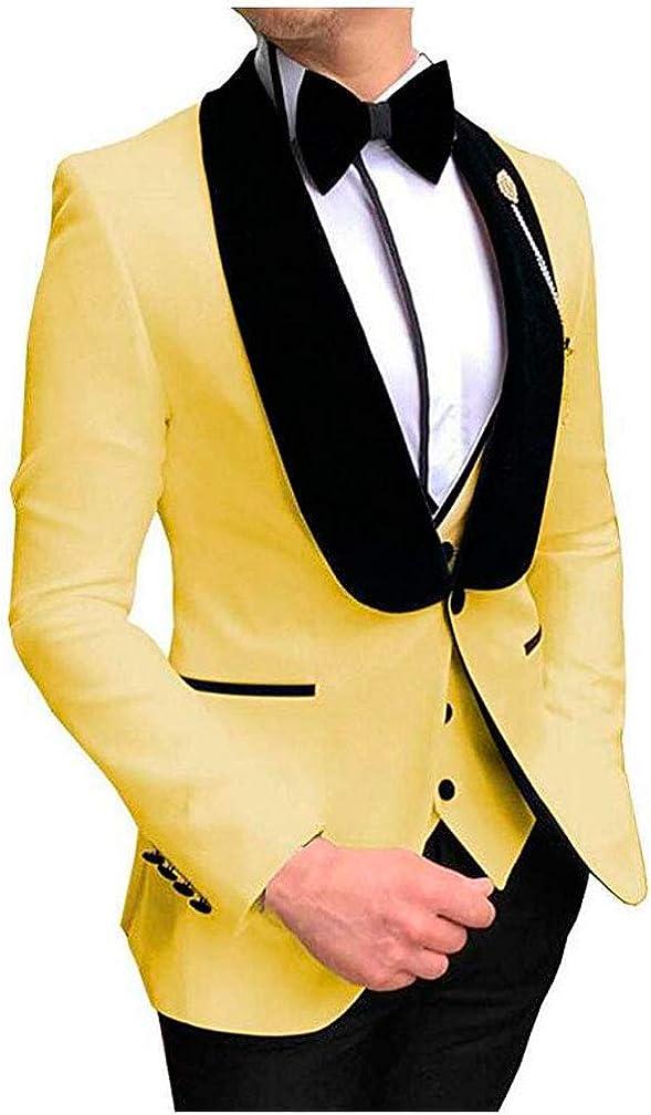 One Button Shawl Lapel Men's Suit 3 PC Regular Fit Business Suit Jacket Pants Vest Wedding Tuxedos