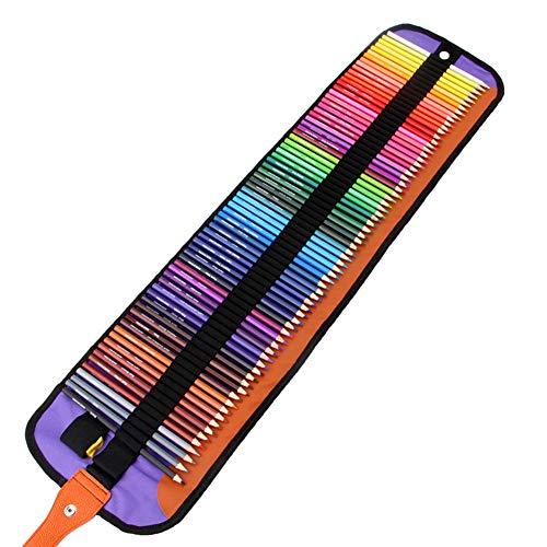 Gelentea Rollbare Leinwand Tasche Farbe sechseckig Bleistift 72 Farben Student Malset Smooth Writing Organizer Stationary Pouch für Künstler