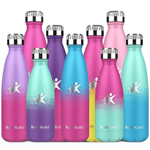 KollyKolla Botella de Agua Acero Inoxidable, Termo Sin BPA Ecológica, Botella Termica Reutilizable Frascos Térmicos para Niños & Adultos, Deporte, Oficina, Ciclismo, (500ml Azul + Rosa Barbie)