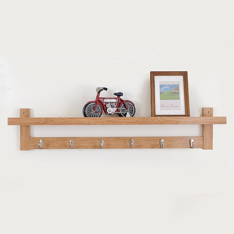 LIANGLIANG Floating Wall Shelves Shelf Coat Rack Hanger Top Ministry Storage Design Metal Hook Hanger Solid Wood 3 colors 3 Kinds of Sizes are Optional (color   Log color, Size   87  12  18cm)