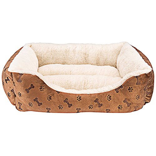 Animals Favorite New Rectangle Pet Bed with Dog Paw Printing (22' x 18')