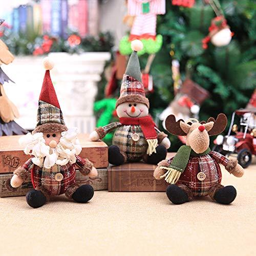 3 muñecas de Navidad vendiendo decoraciones de Navidad, lindo Papá Noel, elk muñeco de nieve, árbol de Navidad, decoración colgante de árbol de Navidad