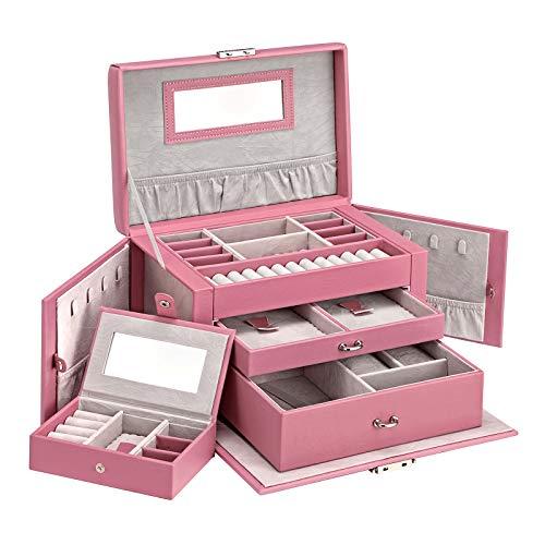 SONGMICS Schmuckkasten, Schmuckkästchen mit 2 Schubladen, abschließbarer Schmuck-Organizer mit Spiegel, herausnehmbare Reise-Box, für Ringe, Armbänder, Ohrringe, Samtfutter, rosa JBC121PK