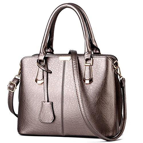 FiveloveTwo Damen Elegant PU Leder Schultertasche Shopper Top-Griff Tragetaschen Umhängetasche Große Handtasche und Geldbörsen Bronze