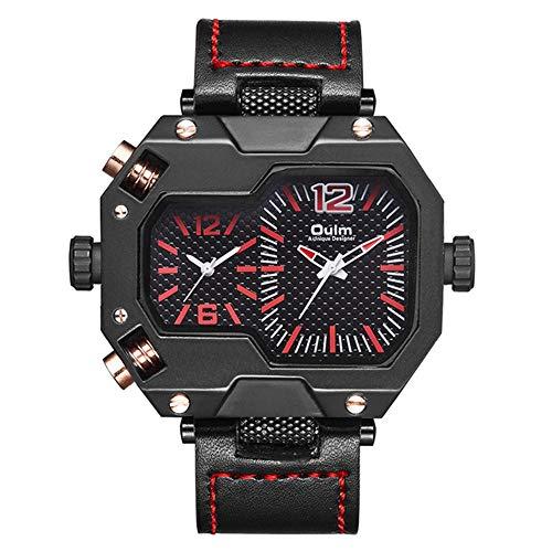 YIBOKANG Personalidad Creativa De Los Hombres Sports Double Core Area Multi-Tiempo Dial Grande Reloj De Cuarzo Impermeable Moda Reloj De Regalo Multifunción Casual (Color : 3)