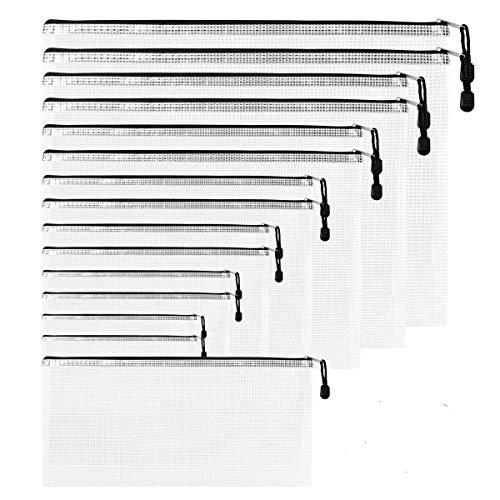 Dokumententaschen ZITFRI 16 Stück Reißverschlussordner Reißverschlusstasche in 8 Größen A4 B4 B5 A5 A6 B6 B8 Rechnung - Datei Taschen mit Reißverschluss, Mesh Bag für Datei, Papier, Büro Dokumente