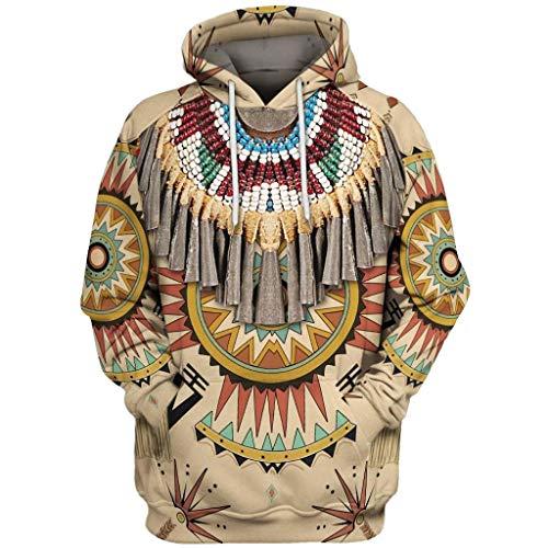 KPILP Herren Hoodie Kapuzenpullover Ethnischen Vintage Drucken Pullover Weihnachtspullover Langarm Sweatshirt Männer Christmas Tops Jumper