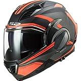 LS2 FF900 VALIANT II REVO FLUO ORANGE Casco de moto – Casco de moto abatible modular de cara abierta con doble visera DVS Sports Touring Flip Front, naranja fluorescente, extra-large