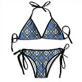 Conjunto de Bikini de Mujer, Marco de Conchas Marinas con Arena Exóticas Vacaciones de Verano Recuerdos del océano Fotografía acribillada, Traje de baño de Dos Piezas